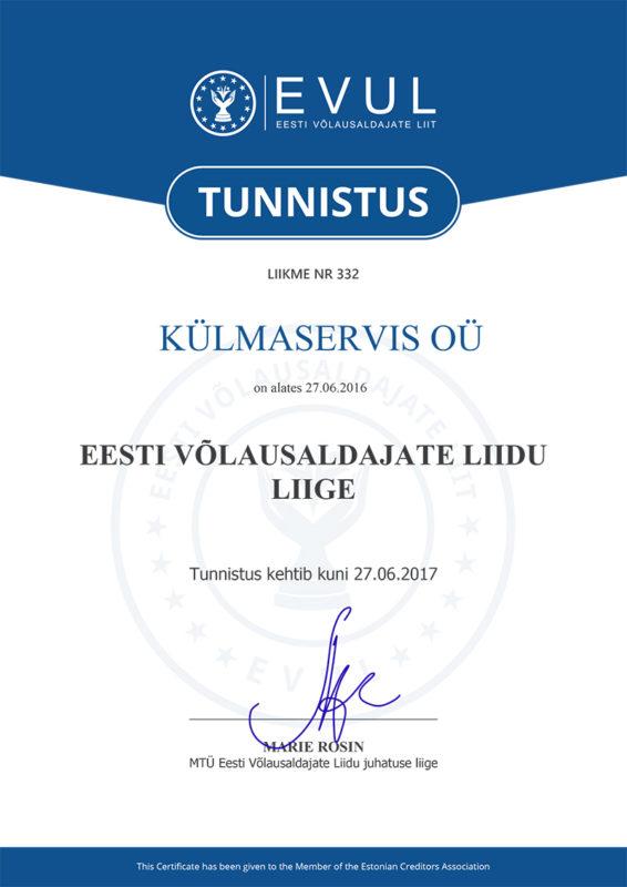 EVUL - Tunnistus KÜLMASERVIS OÜ
